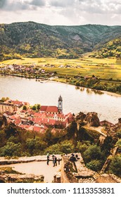 Panoramic aerial view of beautiful Wachau Valley with the historic town of Durnstein and famous Danube river, Lower Austria region, Austria tourist spot