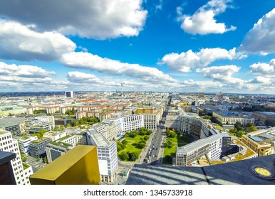 Panoramic aerial view of Berlin city, Germany. Skyline view of Berlin downtown from skyscraper on Potsdamer Platz