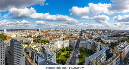Panoramic aerial view of Berlin city center, Germany. Skyline view of Berlin downtown from skyscraper on Potsdamer Platz - Shutterstock ID 1472628449