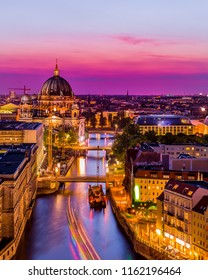 Panoramic Aerial view of Berlin skyline and Spree river in beautiful evening  with colorful sky ,Berlin , Germany