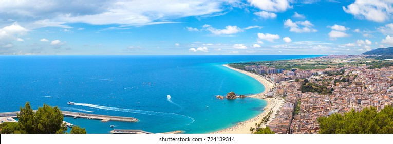 Panoramic aerial view of Blanes in Costa Brava in a beautiful summer day, Spain
