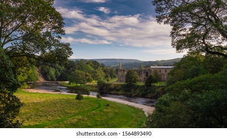 Panoramic aerial view of Bolton Abbey, Yorkshire at summer.