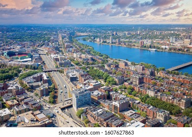 Panoramic aerial view of Boston financial district, historic center, Beacon Hill and Charles River