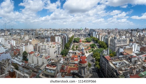 Panoramic Aerial view of Buenos Aires and Plaza Congreso (Congress Square) - Buenos Aires, Argentina