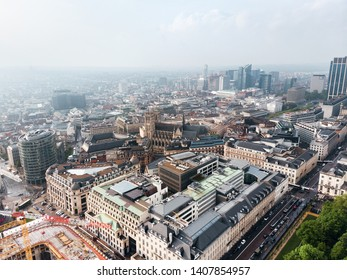 Panoramic aerial view of the business part of the city of Brussels during the daytime in good sunny weather with clouds on the horizon, Belgium