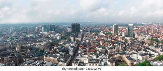 Panoramic aerial view of the central part of Brussels, the park, the Brussels Cathedral and the business part of the city, Belgium
