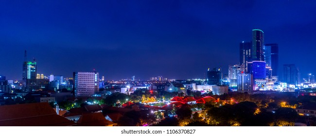 Panoramic Aerial View of Cityscape at Night with Vibrant Lights Surabaya, East Java, Indonesia, Asia