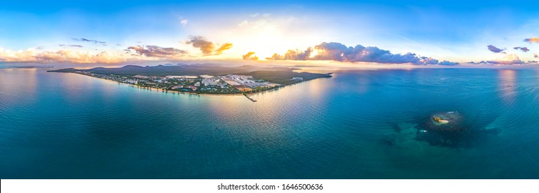 Panoramic Aerial View of the Coast and the Turtle Island (Hon Doi Moi) in Vinpearl Resorts Area during Sunrise Time, Phu Quoc, Vietnam, Southeast Asia.