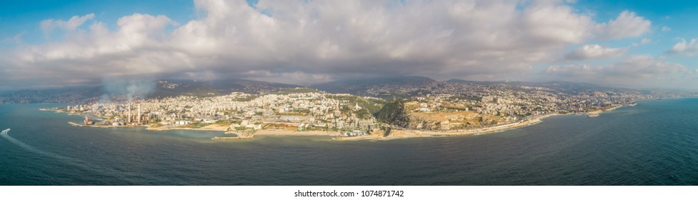 Panoramic aerial view of coastal landscape in Beirut, Lebanon.