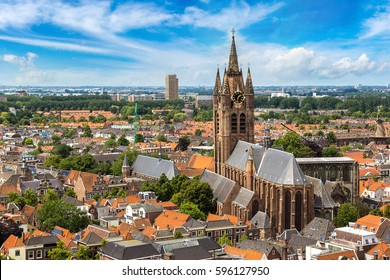 Panoramic aerial view of Delft in a beautiful summer day, The Netherlands