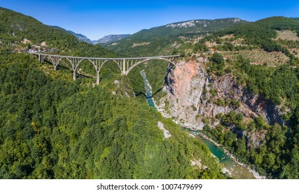 Panoramic aerial view of the Djurdjevica Bridge over the Canyon of the Tara River. Montenegro.
