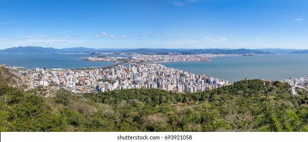 Panoramic Aerial view of Downtown Florianopolis City - Florianopolis, Santa Catarina, Brazil