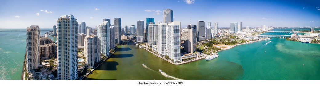Panoramic aerial view of Downtown Miami and Brickell Key, Florida.