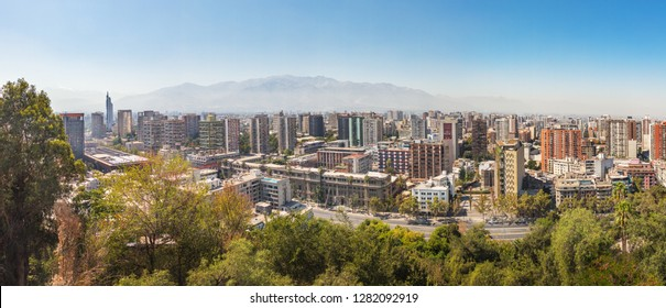 Panoramic aerial view of downtown Santiago with Andes mountains on background - Santiago, Chile