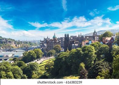 Panoramic aerial view of Edinburgh in a beautiful summer day, Scotland, United Kingdom