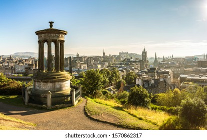 Panoramic aerial view of Edinburgh castle from Calton Hill in a beautiful summer evening, Scotland, United Kingdom