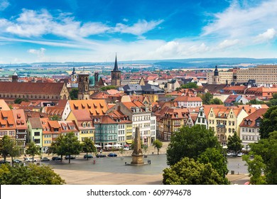 Panoramic aerial view of Erfurt in a beautiful summer day, Germany