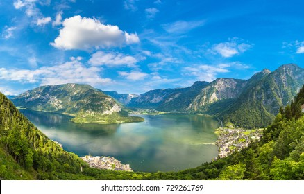 Panoramic aerial view of Famous Hallstatt mountain village, Salzkammergut, Austria in a beautiful summer day