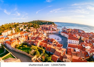 Panoramic aerial view from George's tower on Piran old town with Tartini main square and Adriatic sea. Slovenia.