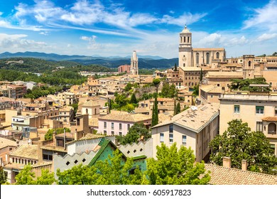 Panoramic aerial view of Girona and cathedral in a beautiful summer day, Catalonia, Spain