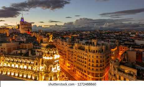 Panoramic aerial view of Gran Via, main shopping street in Madrid, Spain.