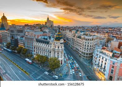 Panoramic aerial view of Gran Via street in Madrid in sunset, Spain. Europe