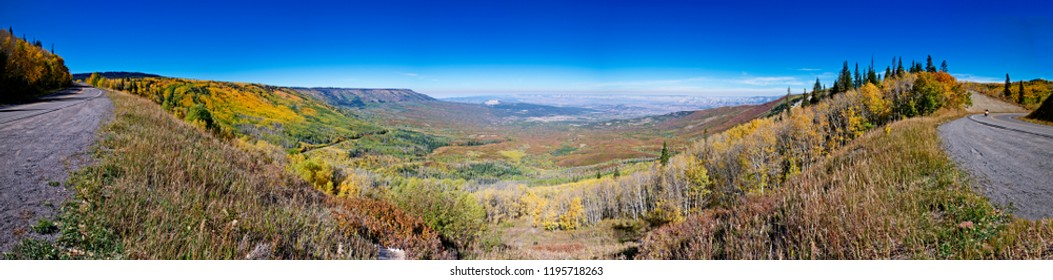 Panoramic aerial view of grand Mesa Colorado as seen from grand Mesa scenic byway Colorado route 65