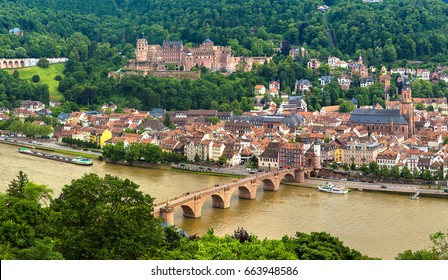 Panoramic aerial view of Heidelberg in a beautiful summer day, Germany