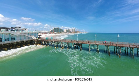 Panoramic aerial view of the historic Daytona Beach Main Street Pier, at Daytona Beach, Florida, USA
