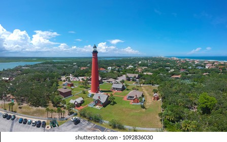 Panoramic aerial view of the historic Ponce de Leon Inlet Light lighthouse, in Ponce Inlet, Florida, USA