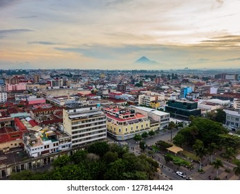A panoramic aerial view of the historical downtown Zona 1 in the city of Guatemala, Central America