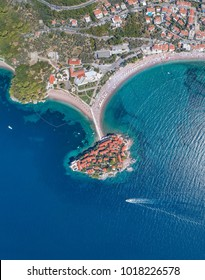 Panoramic aerial view of the hotel sveti stefan from the sea. Montenegro.