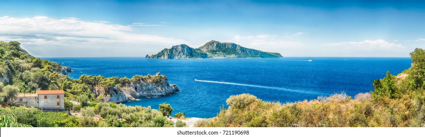 Panoramic aerial view of the Island of Capri, Italy, as seen from the town of Massa Lubrense