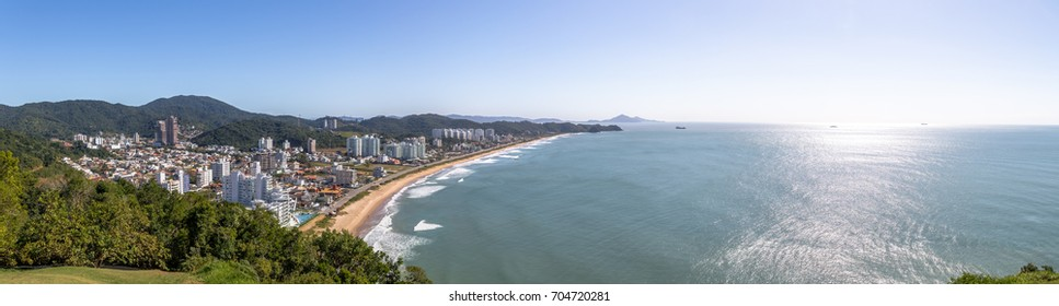 Panoramic aerial view of Itajai city and Praia Brava Beach - Balneario Camboriu, Santa Catarina, Brazil