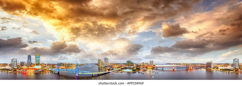 Panoramic aerial view of Jacksonville on a beautiful night.
