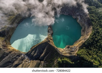 Panoramic Aerial view of Kelimutu volcano and its crater lakes, Flores, Indonesia
