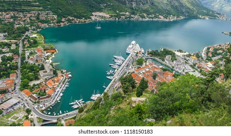 Panoramic aerial view of Kotor Bay (Boka Kotorska) and Kotor town, Montenegro. Natural and Historical Region of Kotor has been a UNESCO World Heritage Site since 1979