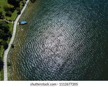 Panoramic aerial view of Lake Endine, one of the most attractive tourist sites in the north of the province of Bergamo in Italy