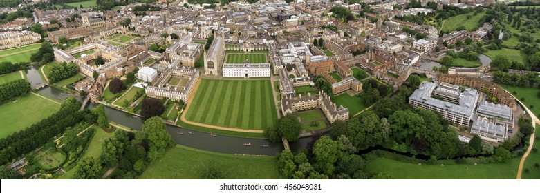 Panoramic Aerial View Landscape of the Famous Cambridge University, King's College, United Kingdom