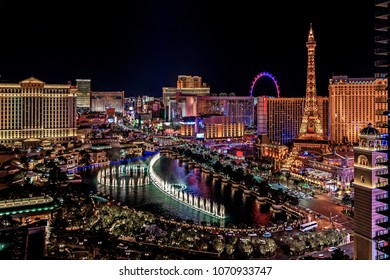 Panoramic aerial view of Las Vegas strip in Nevada as seen at night USA