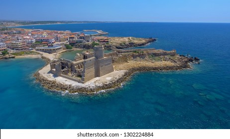 Panoramic aerial view of Le Castella in Calabria, with Aragonese Fortress.
