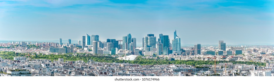 Panoramic aerial view of Le Defence. Le Defense is a; major business district of the Paris aire urbaine