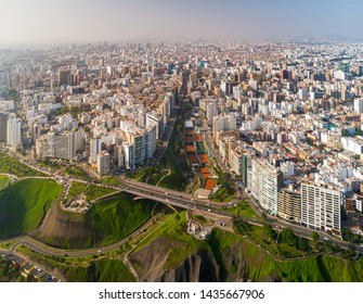 Panoramic aerial view of Lima city, in Peru.