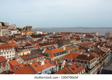 Panoramic aerial view of Lisbon, Portugal