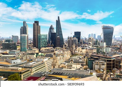 Panoramic aerial view of London, skyscrapers in the financial district, England, United Kingdom