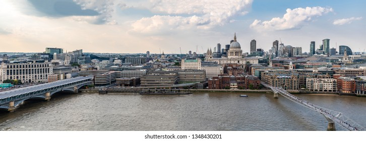 panoramic Aerial view of London St Paul's Cathedral with London Millennium Bridge in London England UK