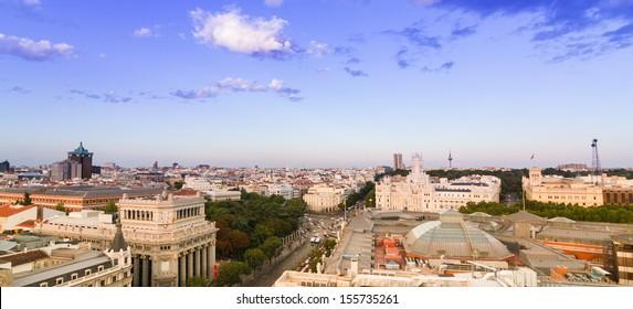 Panoramic aerial view of Madrid in Spain, Europe