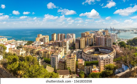 Panoramic aerial view of Malaga in a beautiful summer day, Spain