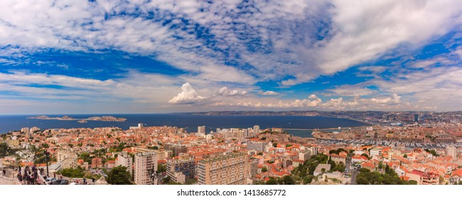 Panoramic aerial view of Marseilles skyline, islands and harbor, Marseille, the second largest city of France