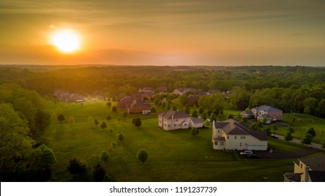 Panoramic aerial view of Maryland single family homes, country houses at sunset